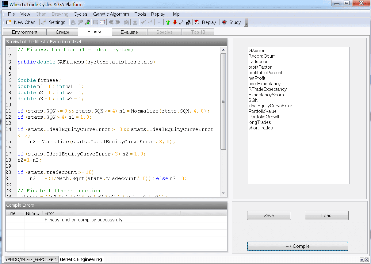 Set individual Fitness Function with integrated C# runtime coding